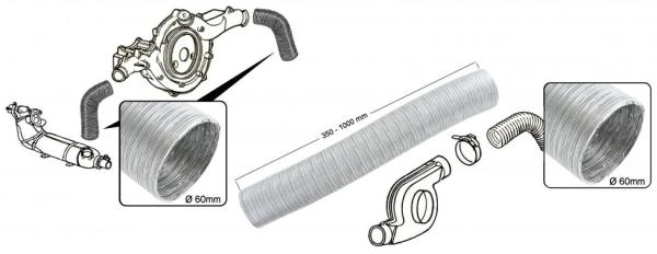 Heizschlauch Heizungsgebläse rechts Aluminium | T2 1.7-2.0